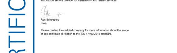 ISO-Zertifizierung? Und was für eine!